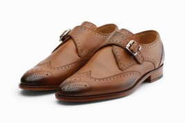 Handmade Men's Brown Wing Tip Heart Medallion Monk Strap Leather Dress Shoes image 3