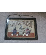"Vintage Stained Glass Picture Metal Frame Art ""Espresso Yourself"" - $4.94"