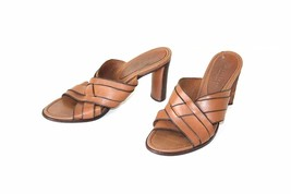 Women's Vintage COLE HAAN High Heel Slip On Brown 100% Leather Sandals M... - $25.07