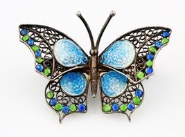 Vintage Silver Enamel Butterfly Brooch by Alioto Adriana of Genova Italy - $801.90