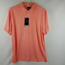 PGA Tour Men Motionflux Fusion Coral White Polo Shirt Size Large MSRP $60 - $39.95