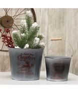 2/Set Reindeer Vintage Style Metal Farmhouse Christmas Floral Buckets - $49.49