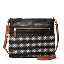 Fossil Fiona Black Stripe PVC/Polyurethane Trim Large Zipper Closure Cro... - $229.99