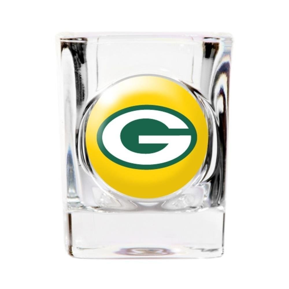 GREEN BAY PACKERS 2 OZ. SQUARE SHOT GLASS DOMED LOGO NFL FOOTBALL #1