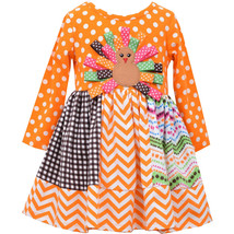Bonnie Jean Little Girls 2T-4T Orange Turkey Dot-N-Chevron Stripe Dress