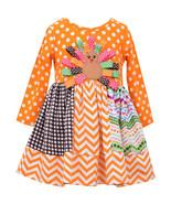 Bonnie Jean Little Girls 2T-4T Orange Turkey Dot-N-Chevron Stripe Dress - $28.90