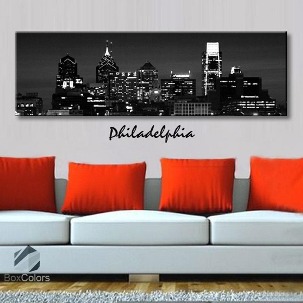 Single panel Art Canvas Print City Skyline Philadelphia Downtown Wall decor