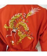 Vintage 90s Red Kimono Yellow Gold Dragon Robe Duster Size M Pockets Bel... - $59.35