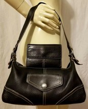 FOSSIL Set Black Leather Hobo Shoulder Bag and Trifold Wallet with 13 Ca... - $33.40