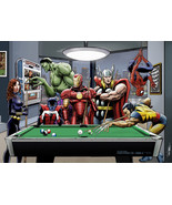 Afterhours: Marvel Superheroes Play Pool - Art Print/Poster (various sizes) - $19.99+