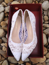 Women Ivory White Lace bridal low heels,Wedding Evening Shoes US Size 5,... - $49.99