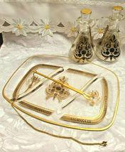 RARE 1950's Georges Briard Sonata Dove Rectangle Glass Tray & Cruets V&O image 10