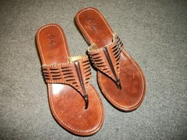 COLE HAAN Sandals 6 B 6B Brown Leather Wedge Heel Slide Thong - $18.00