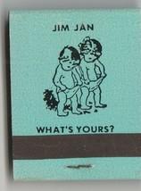 Vtg Strike on Matchbook  of Jim & Jan  What's Yours (light blue) Restaur... - $11.87