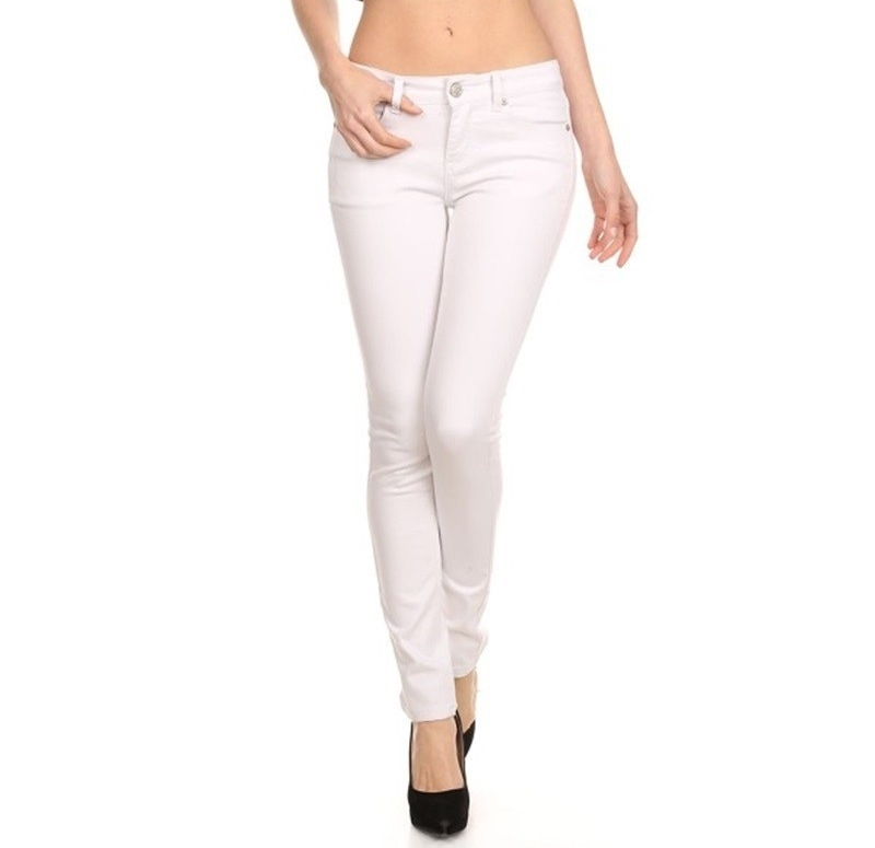 White Denim Stretch Skinny Jeans, White Jean Pants, White Wash Jeans