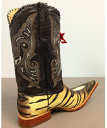 Los Altos Beige / Brown W / Tiger Design 3X Toe Cowboy Boots 955573 Size... - $571.14 CAD
