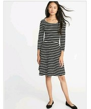 Old Navy Womens Black & White Fit & flare  3/4 Sleeve dress NWT size Large - $10.69