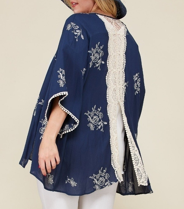 Plus Size Embroidered Kimono, Plus Size Lightweight Cardigans, Womens, Navy