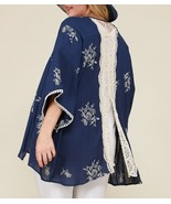 Plus Size Embroidered Kimono, Plus Size Lightweight Cardigans, Womens, Navy - $59.99