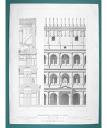 ARCHITECTURE (2) PRINTS 1850 - ROME Colosseum Restored Facade Orders Det... - $21.60