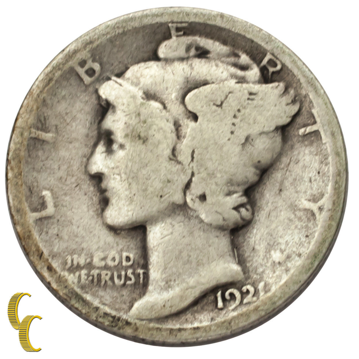 1921 Silver Mercury Dime 10C (About Good, AG Condition)