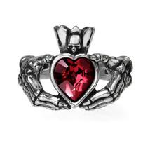 Alchemy of England Gothic Claddagh by Night Skeleton Swarovski Crystal Ring R210 - $29.99