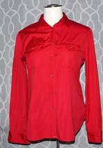 Ralph Lauren Womens Red Shirt Khaki Gold Button Down Size Large 100% Cotton - $45.13