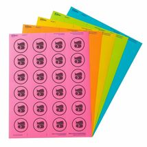 """Avery Labels 4330 Astrobrights Round 1-2/3"""" Diameter 240 Labels 5 Colors NIP image 4"""