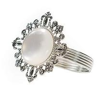 TRIXES Napkin Rings with Pearl Centre - Silver Colour Vintage Design Hol... - $8.99