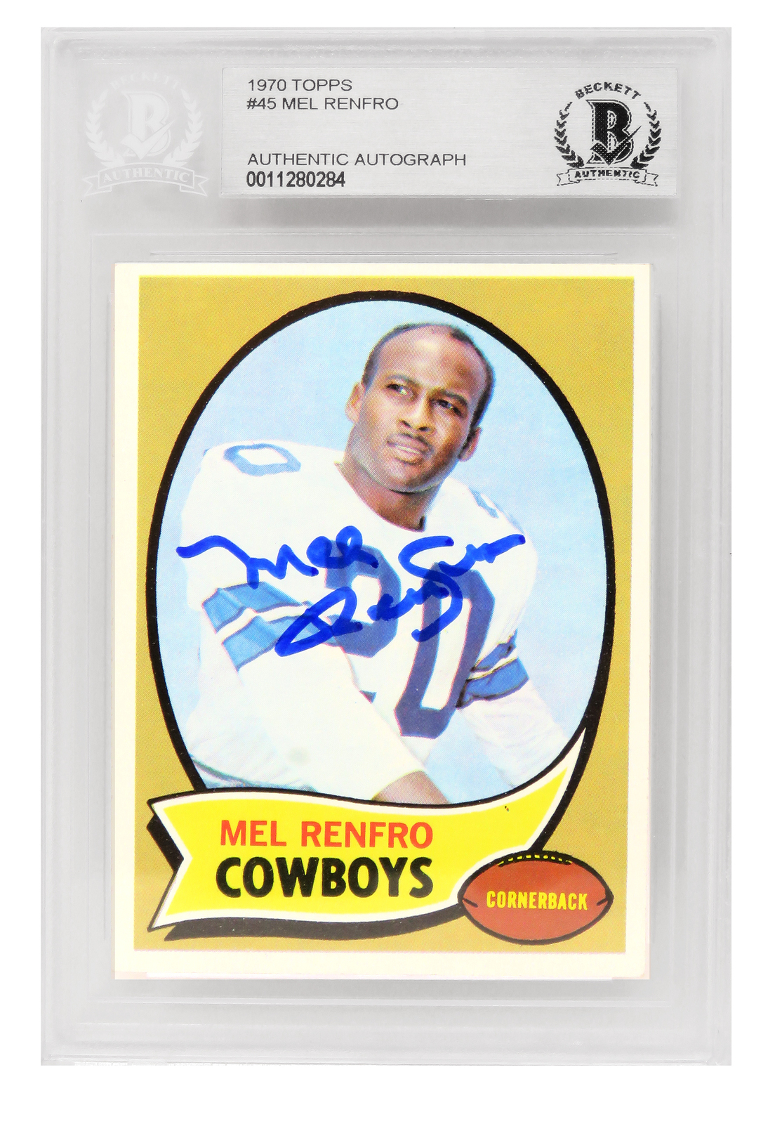Primary image for Mel Renfro Signed Dallas Cowboys 1970 Topps Football Card #45