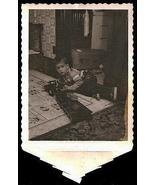Huge Toy Truck Little Boy Playing on Floor Polaroid Tab Vintage Photo - $12.99