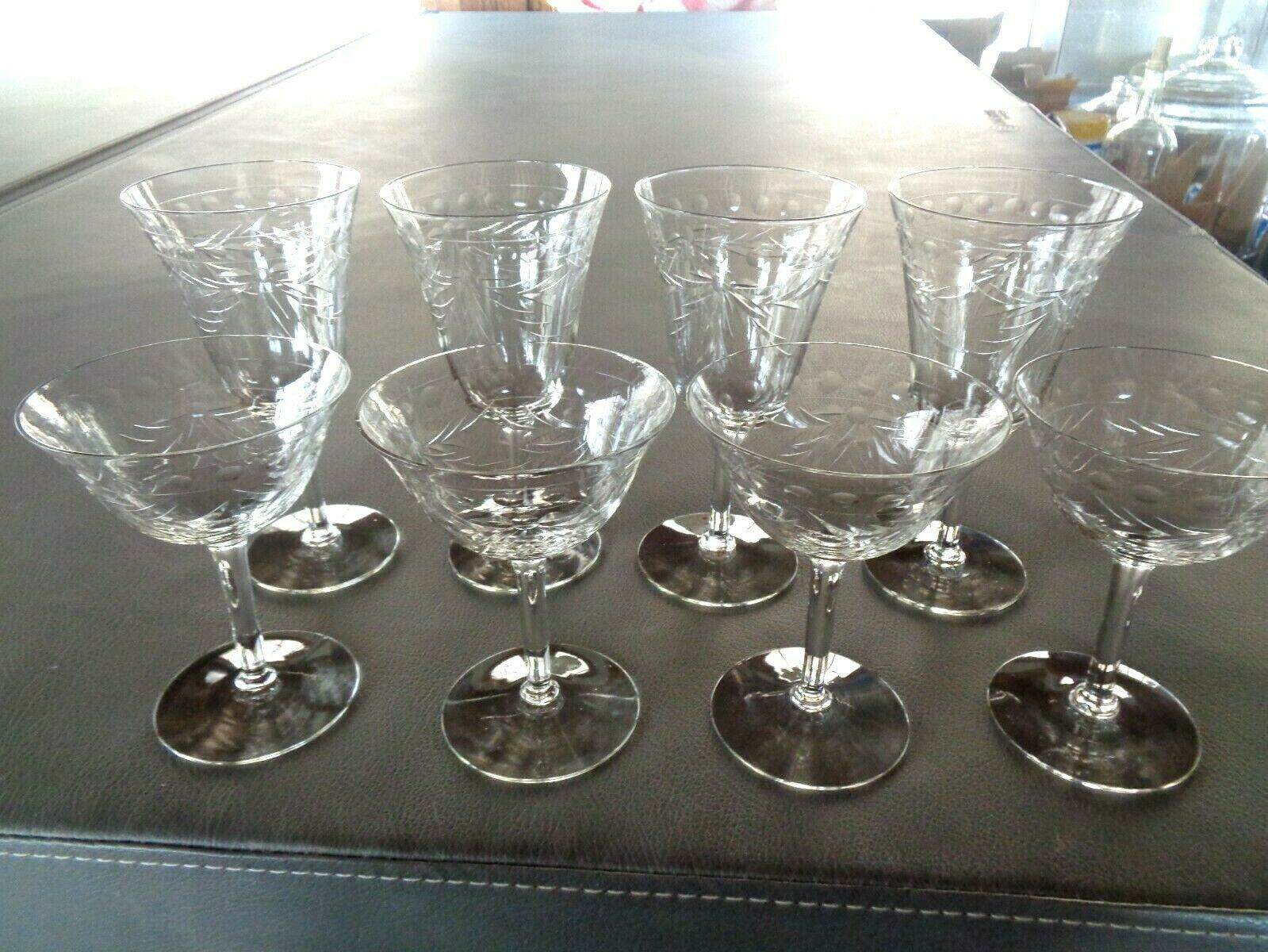 Primary image for Set of 8 Vintage Etched  Crystal Glass Etched Dot & Leave Goblets