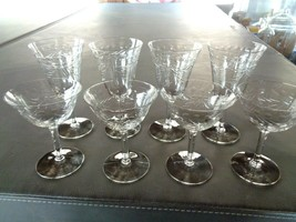 Set of 8 Vintage Etched  Crystal Glass Etched Dot & Leave Goblets - $19.99