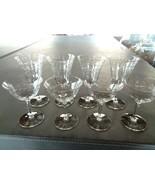 Set of 8 Vintage Etched  Crystal Glass Etched Dot & Leave Goblets - $19.99