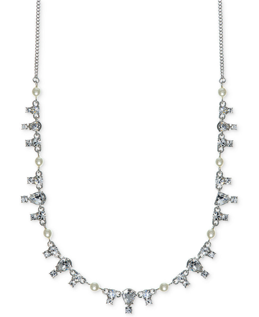$88 Givenchy Silver Tone Simulated Pearl Necklace