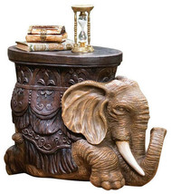 African ELEPHANT SCULPTURE TABLE Side Cocktail Bar Den Office Foot Stool... - $164.99
