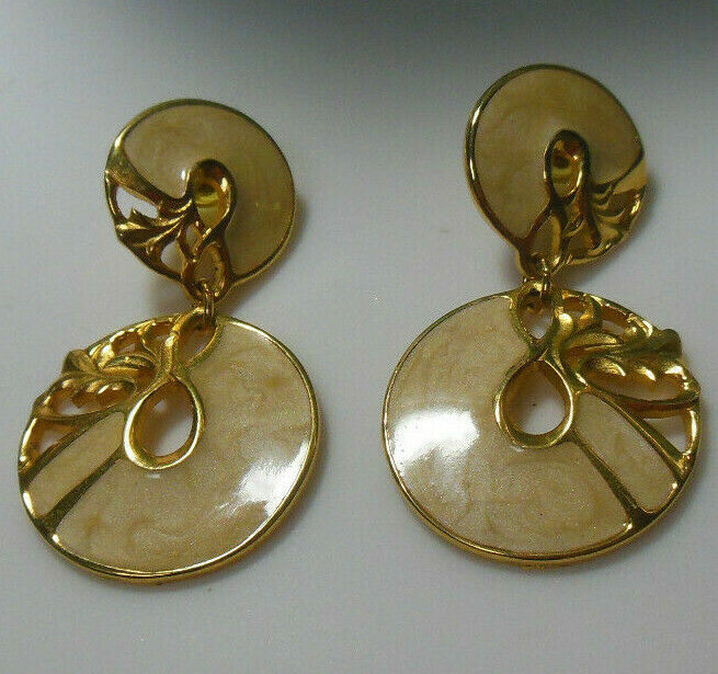 Vintage Signed Berebi Swirl Enamel Drop/Dangle Earrings