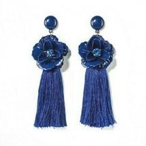 SUGARFIX by BaubleBar Bright Blue Tassel Drop Earrings with Crystal Flowers NWT