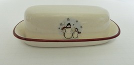 Royal Seasons RN1 Stoneware Covered Butter Dish 1/4 lb Snowmen Snowflakes  - $19.68