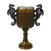 Double Dragon Drinking Chalice Goblet 9 inches Tall - $39.59