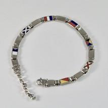 Armband Männer aus Silber 925 Rhodium mit Flags Offz. Blaue Paspel Emaille 20 CM image 2