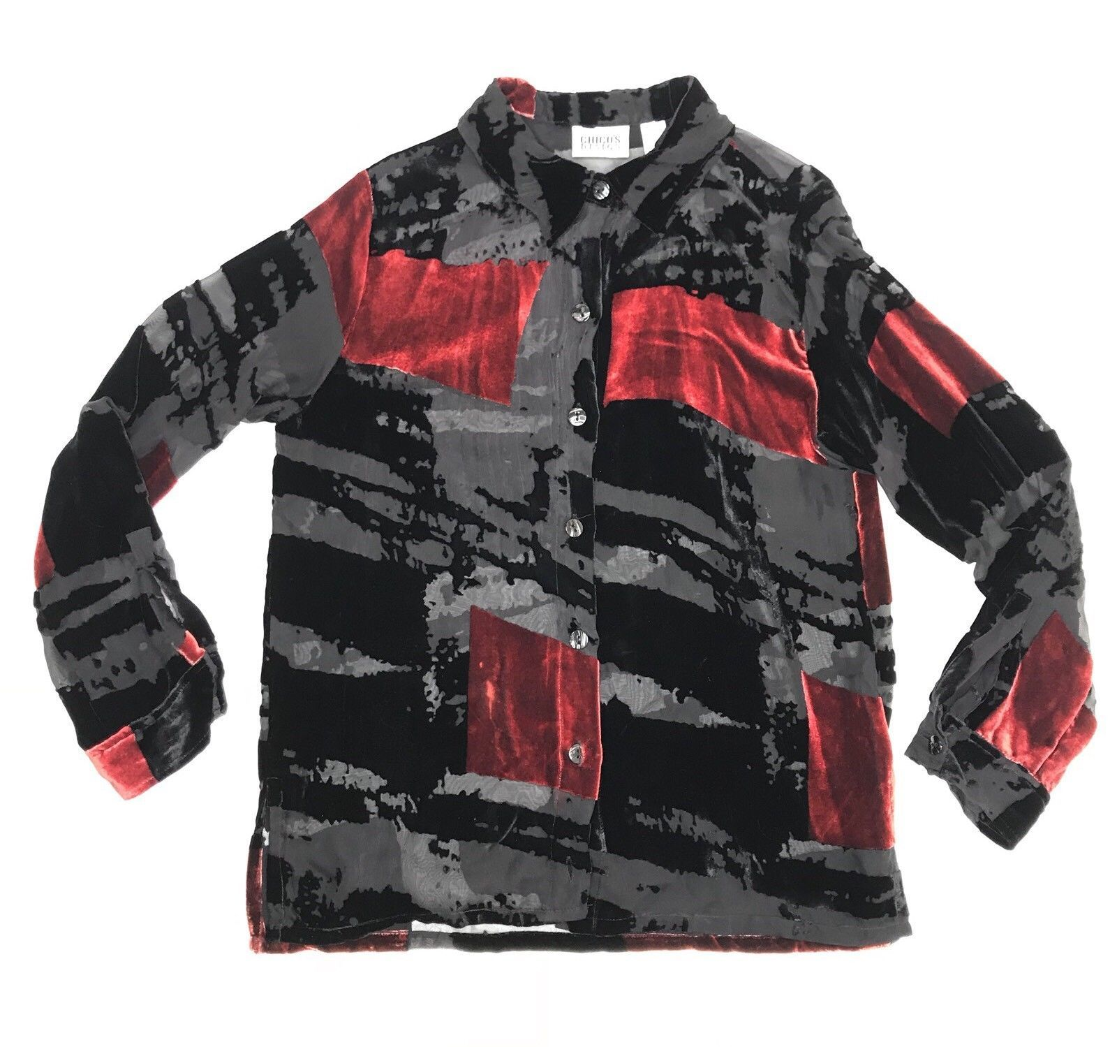 Chico's Design Velvet Silk Blouse Women Size 2 Sheer Red Black Long Sleeve Top