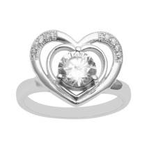 Double Heart 925 Sterling Silver Women Wedding Anniversary Ring Cubic Zi... - $11.58