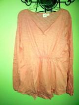 Womens GAP Maternity Smock Top Blouse Slub Pink Long Sleeve Cotton sz. L NWT's! - $11.40