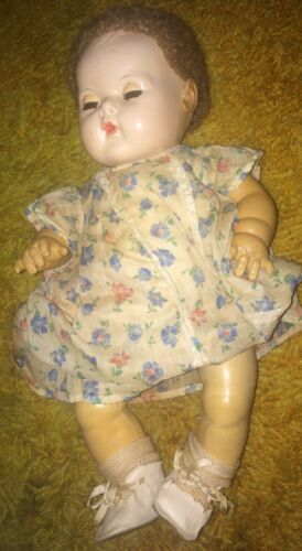 """Antique Effanbee 15"""" Dy-Dee Baby Doll Caracul Wig AS IS"""