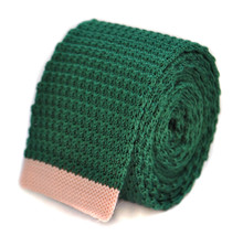 Frederick Thomas dark green skinny knitted tie with pale baby pink tip FT2021