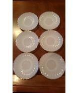 """Vintage Anchor Hocking Swirl Milk Glass White Gold Trim - 6 Saucers 5.75"""" - $29.99"""