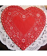 """Vntg ROYLIES 6"""" INCH HEART RED PAPER LACE DOILIES 9 PCS CARDS VALENTINES... - $4.94"""