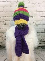 Handmade Crochet Beanie Hat W Matching Scarf Purple Yellow Pink Green Warm - $19.79
