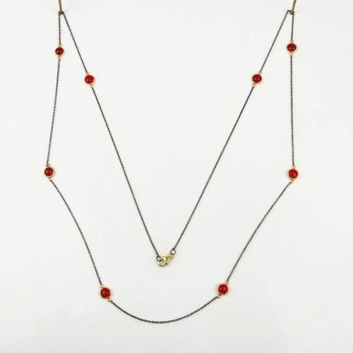 Pink Chalcedony Black Rhodium 925 Silver 38 Inch Necklace Gemstone Jewelry